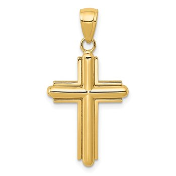 14K Gold Polished Beveled Stick Cross W/Frame Pendant