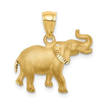 14K Brushed Diamond-cut Elephant Pendant