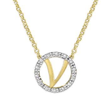 "Gold and Diamond Mini Halo ""V"" Initial Necklace"
