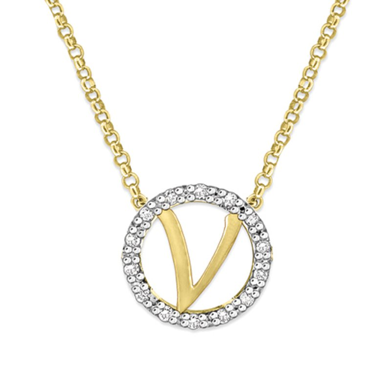 "KC Designs Gold and Diamond Mini Halo ""V"" Initial Necklace"