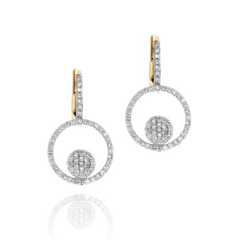Yellow gold diamond micro Infinity loop leverback earrings
