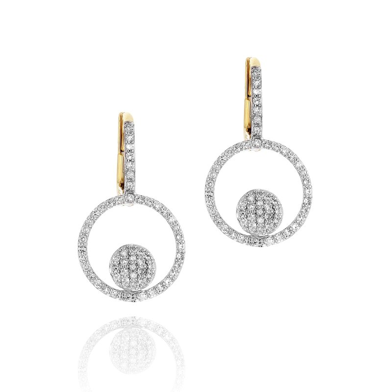 Phillips House Yellow gold diamond micro Infinity loop leverback earrings