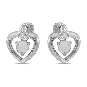 10k White Gold Round Opal And Diamond Heart Earrings