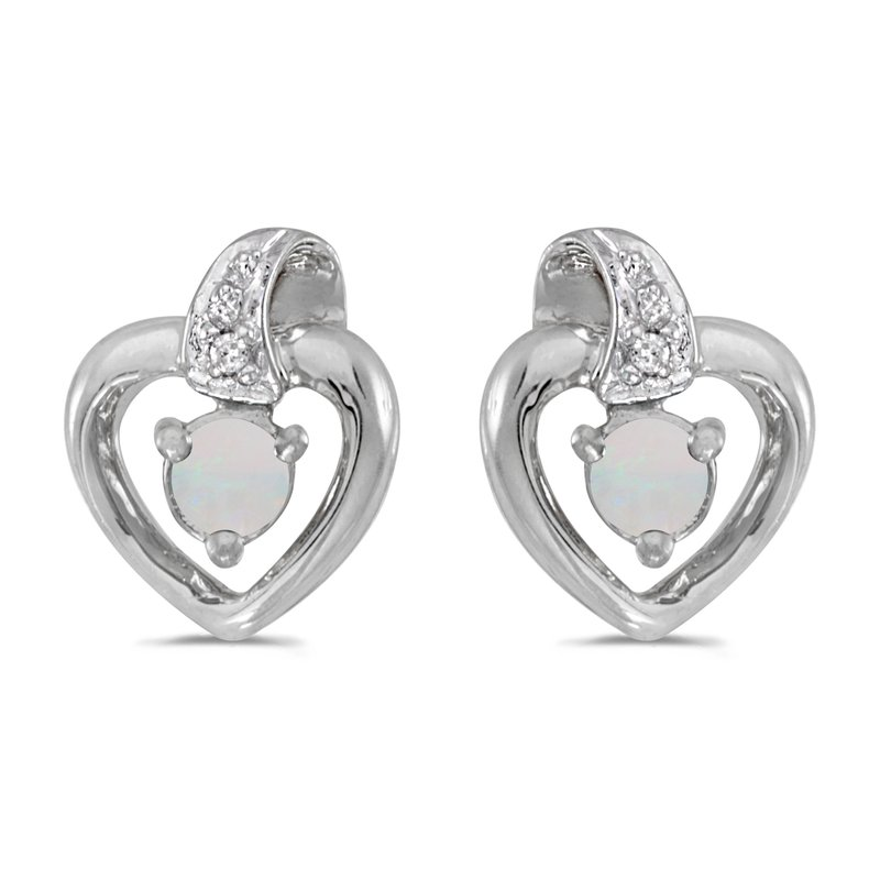 Color Merchants 10k White Gold Round Opal And Diamond Heart Earrings