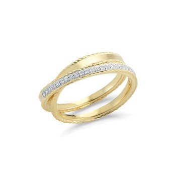 Yellow Gold & Diamond Overpass Ring