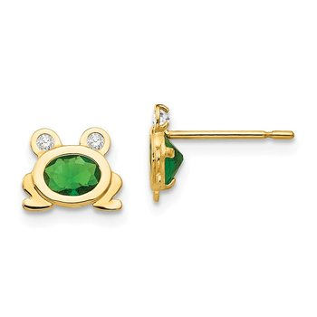 14k Madi K CZ Children's Frog Post Earrings