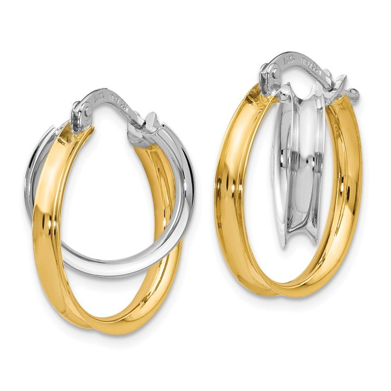 Leslie's Leslie's 14k Two-tone Polished Double Twist Circle Hoop Earrings