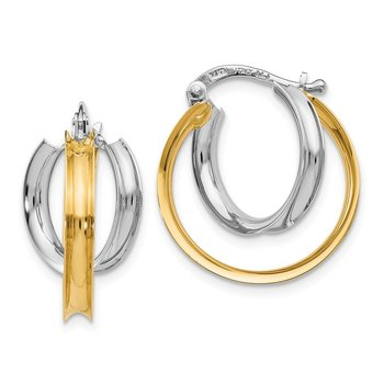 Leslie's 14k Two-tone Polished Double Twist Circle Hoop Earrings