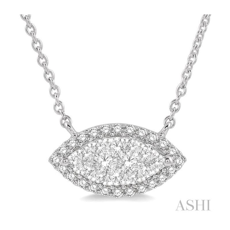 Gemstone Collection marquise shape lovebright diamond necklace