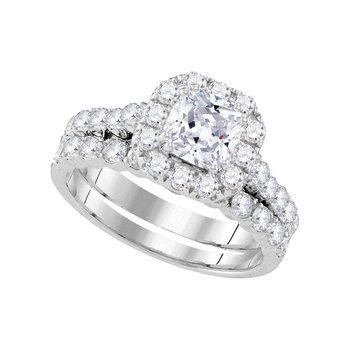 14k White Gold Womens Round Diamond Halo Bridal Wedding Engagement Ring Band Set 2.00 Cttw
