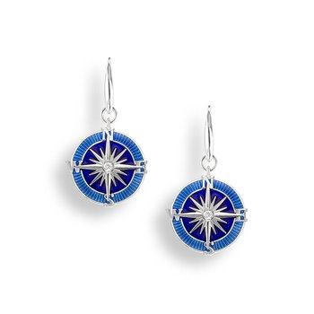 Blue Compass Rose Wire Earrings.Sterling Silver-White Sapphires