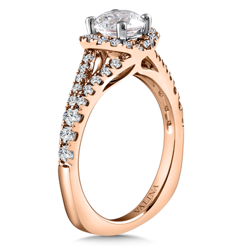 Diamond Engagement Ring Mounting in 14K Rose Gold (.565 ct. tw.)