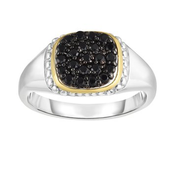 Sterling Silver & 18K Gold Pave Gemstone Signet Ring