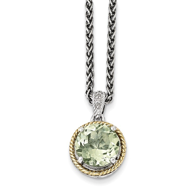 Shey Couture Sterling Silver w/14k Green Quartz and Diamond Necklace