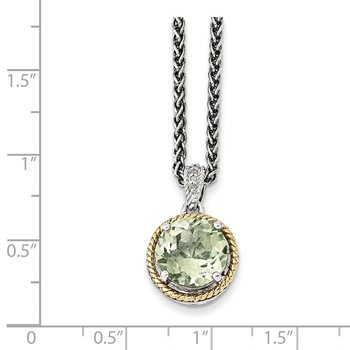 Sterling Silver w/14k Green Quartz and Diamond Necklace