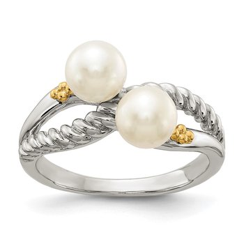 Sterling Silver w/ 14k Polished White Pearl Ring