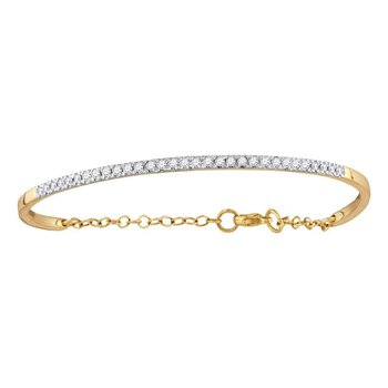 10kt Yellow Gold Womens Round Diamond Promise Bangle Bracelet 1/2 Cttw