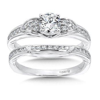 Engagement Ring With Side Stones in 14K White Gold with Platinum Head (5/8ct. tw.)