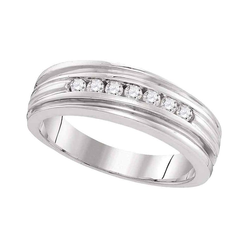 Kingdom Treasures 10kt White Gold Mens Round Diamond Ridged Edges Wedding Anniversary Band Ring 1/4 Cttw