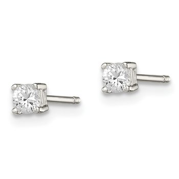Sterling Silver 3mm Round Basket Set CZ Stud Earrings
