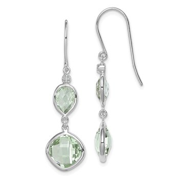 Sterling Silver Rhodium Plated Diamond Green Quartz Earrings
