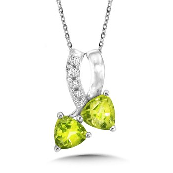 Trillion-Cut Peridot and Diamond Bypass Pendant