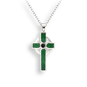 Green Celtic Cross Necklace.Sterling Silver
