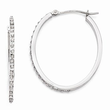 14k White Gold Diamond Fascination Oval Hinged Hoop Earrings