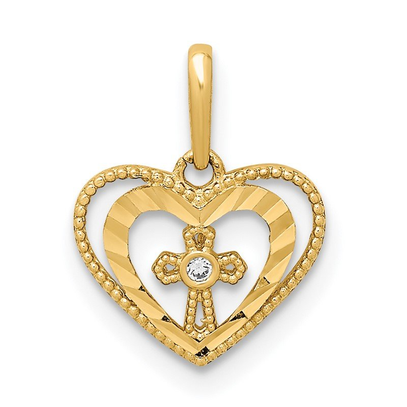 Quality Gold 14K D/C Heart with Cross & CZ Pendant