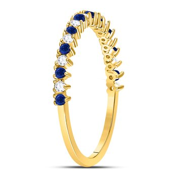 10kt Yellow Gold Womens Round Blue Sapphire Diamond Alternating Stackable Band Ring 1/5 Cttw