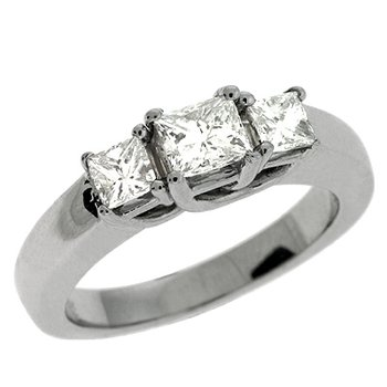 Three Stone White Gold Ring