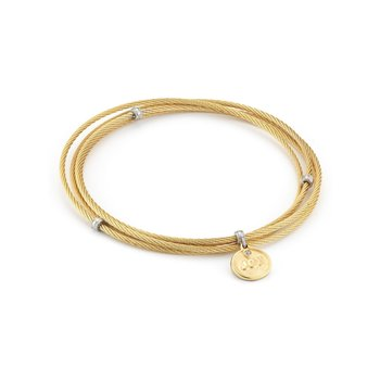 Yellow Cable Affirmation Bangle with Diamond JOY Charm