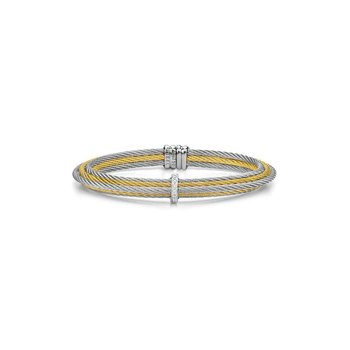 Yellow & Grey Cable Tiered Stackable Bracelet with Single Diamond Station set in 18kt White Gold
