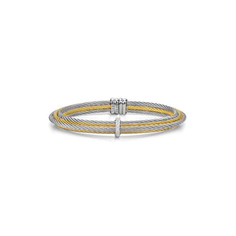 ALOR Yellow & Grey Cable Tiered Stackable Bracelet with Single Diamond Station set in 18kt White Gold