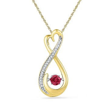10kt Yellow Gold Womens Round Lab-Created Ruby Moving Twinkle Solitaire Infinity Pendant 1/3 Cttw