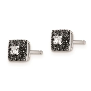 Sterling Silver Rhod Plated Black and White Diamond Square Post Earrings