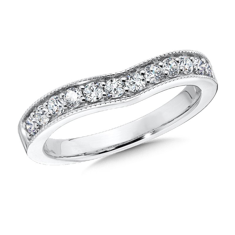 SDC Creations Curved Diamond Wedding Band 14k White Gold (1/4ct. tw.)
