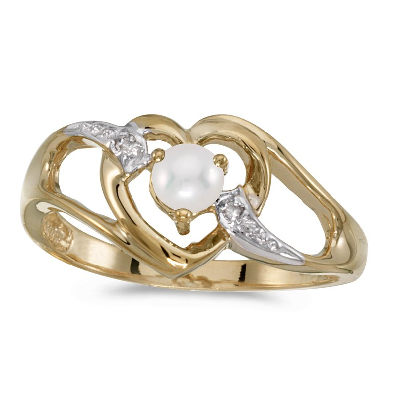 Color Merchants 10k Yellow Gold Pearl And Diamond Heart Ring