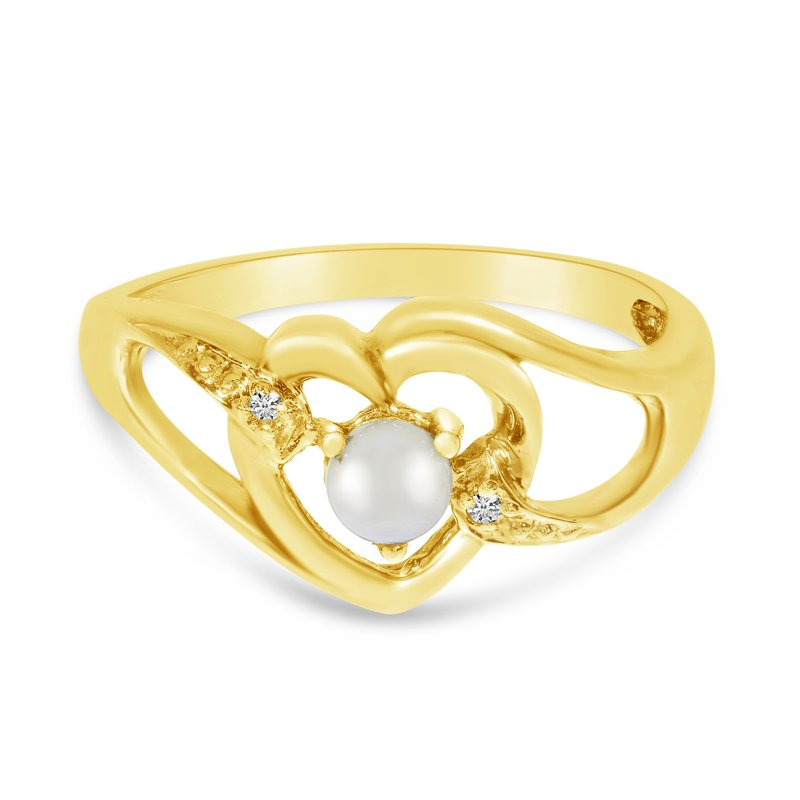 Color Merchants 10k Yellow Gold Freshwater Cultured Pearl And Diamond Heart Ring