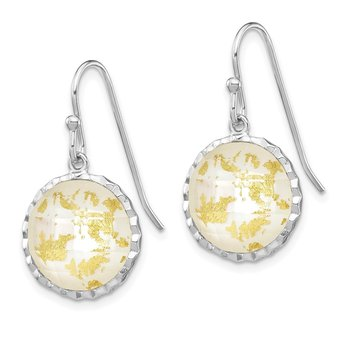 Sterling Silver Rhodium-plated Round Mother Of Pearl Dangle Earrings