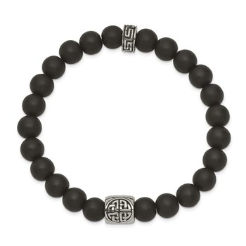 Stainless Steel Antiqued and Polished Black Agate Stretch Bracelet