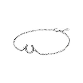 Horseshoe silver  bracelet with cubic zirconia