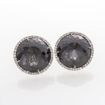 BRILLIANT BLACK DIAMOND AND DIAMOND EARRINGS