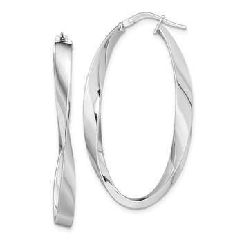 Sterling Silver Rhodium-plated Polished Oval Twisted Hoops