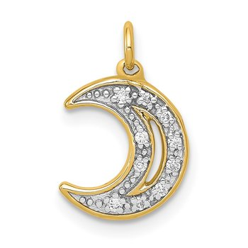 14k White Gold Diamond Moon Charm