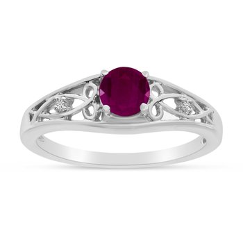 10k White Gold Round Ruby And Diamond Ring