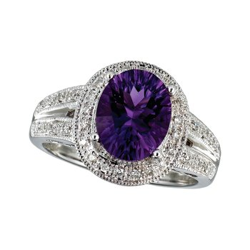 14k White Gold Large Amethyst And Diamond Ring