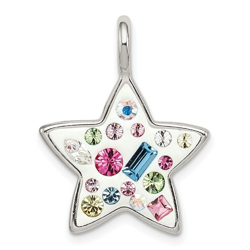 Quality Gold Sterling Silver Multi Stellux Crystal Star Pendant