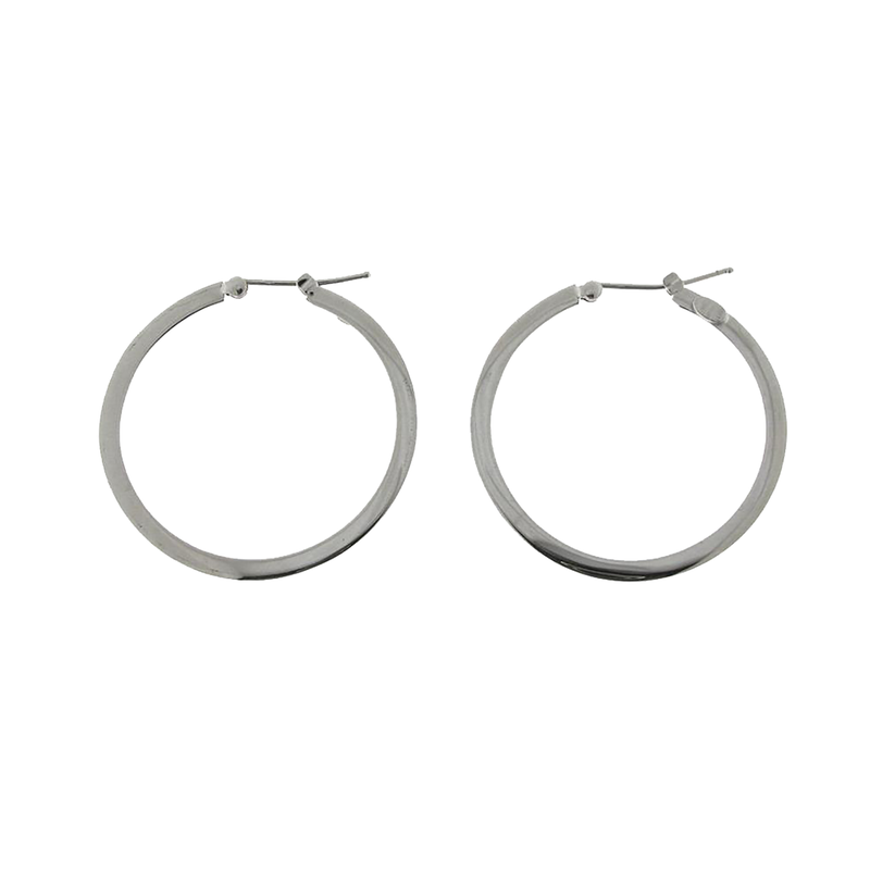 Roberto Coin 18Kt Gold Medium Flat Hoop Earrings