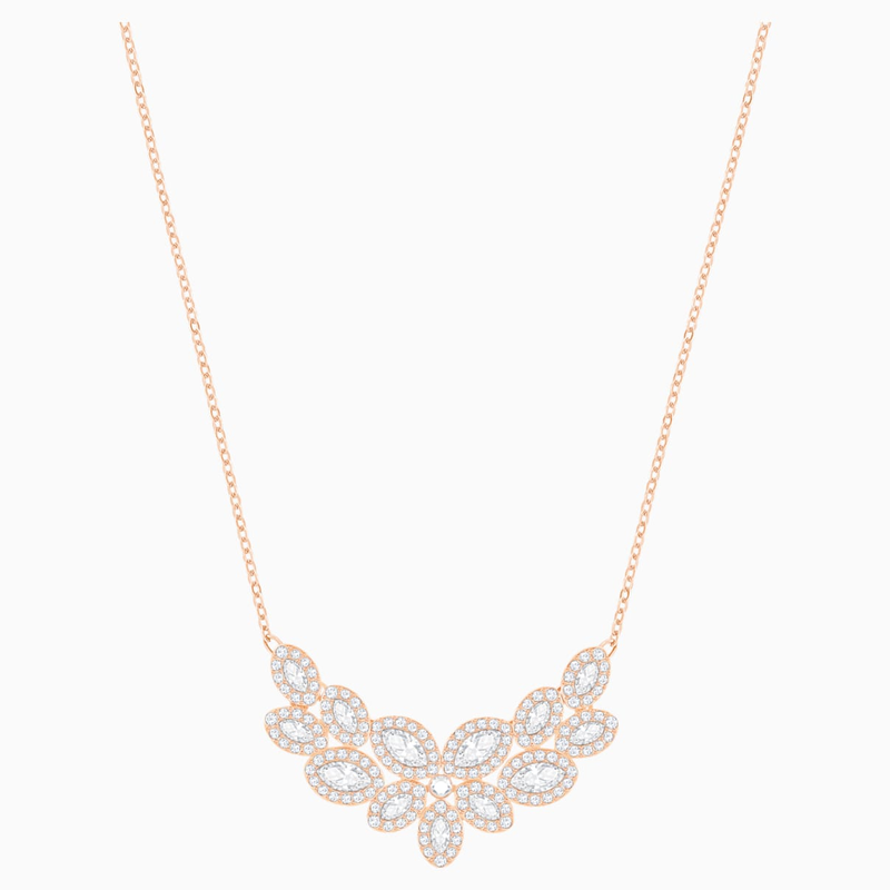 Swarovski Baron Necklace, White, Rose-gold tone plated